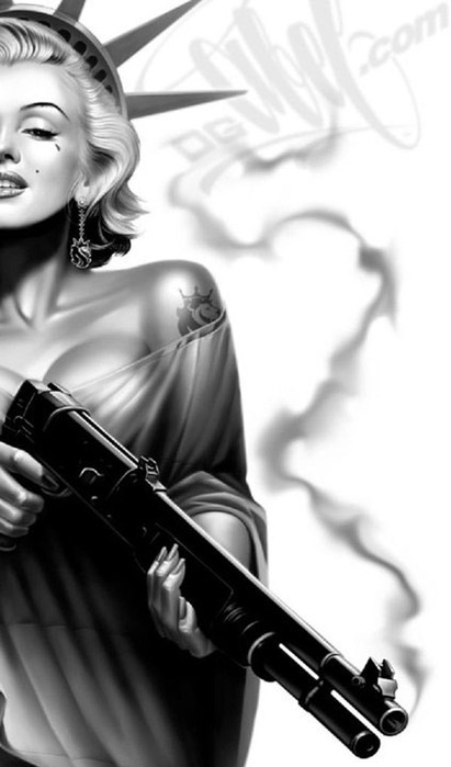 black and white, dope, gorgeous, gun, illustration, marilyn monroe, morte, sexy, tattoo