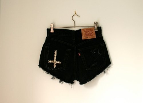 black, cute, denim, denim shorts, fashion, shorts