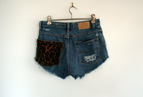 blue, cute, denim shorts, fashion, leopard print, shorts