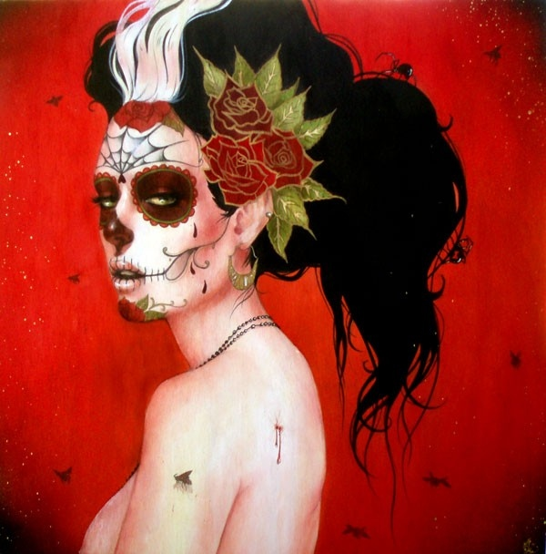 art, caveira, flower, flowers, hair, make up