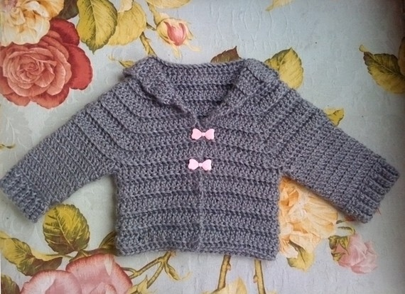 baby, baby clothes, bows, cardigan, crochet, cute, fashion, french, girl, gray, grey, jacket, pink, pretty, vintage, yarn