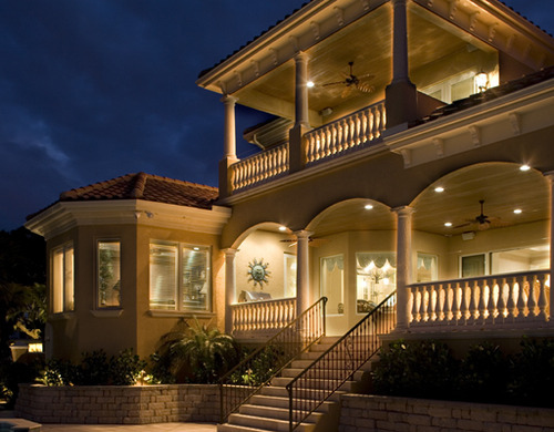 balcony, house, potlights, stairs, verandah