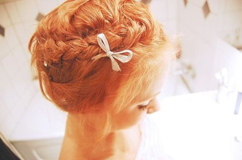 bow, braids, fashion, girl, hair, red hair