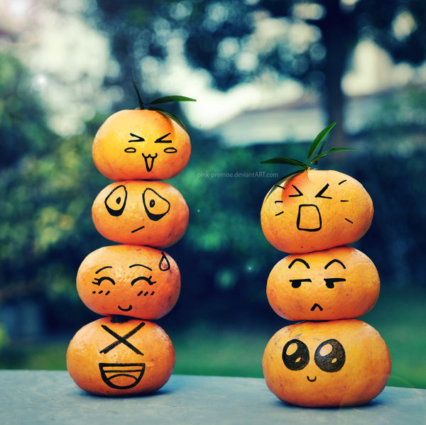 cute, emoticon, fruit, laugh, orange, smile