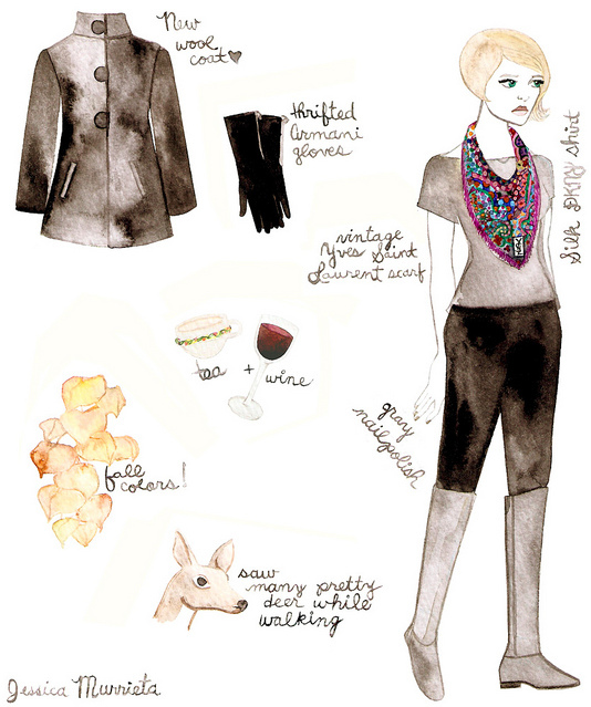 armani, dkny, fashion illustration, jessica murrieta, watercolor, ysl, yves saint laurent