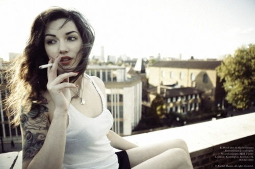 beautiful, cigarette, girl, pretty, red lips, red nails, roof top, rooftop, smoke