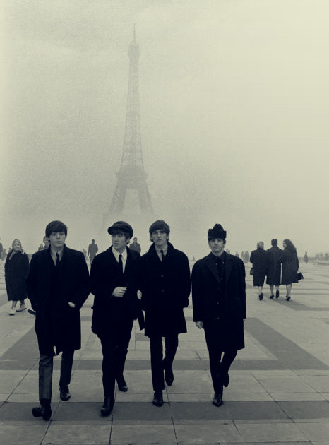 black and white, fog, george harrison, john lennon, paris, paul mccartney