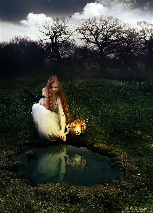 black, black crow, clouds, creepy, crow, eerie, evil, flowing, girl, glowing, hair, lantern, long hair, nature, pond, pretty, pumpkin lantern, redhead, reflection, sky