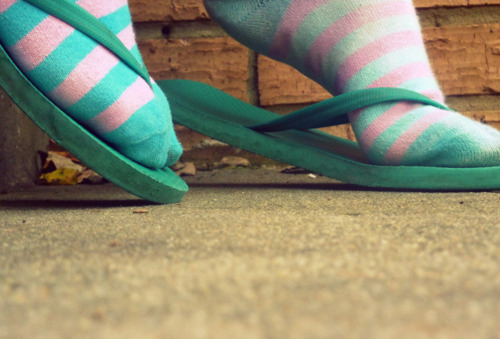 feet, flip flops, green, pink, slippers, socks