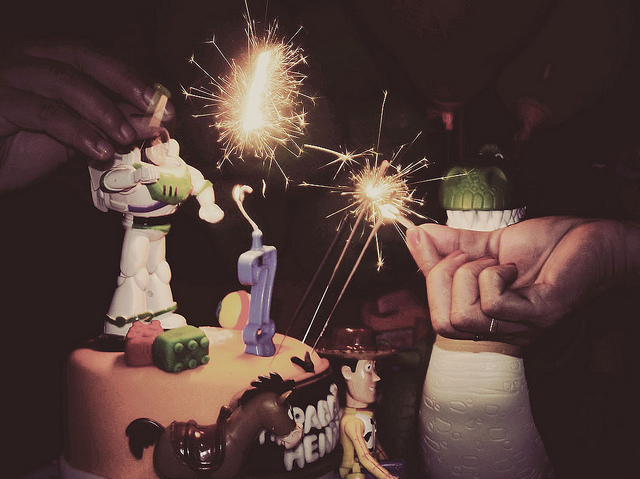 birthday, buzz lightyear, cake, fire, rex, sparkle