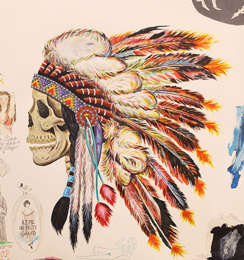 art, headdress, indian, native american, painting, skull