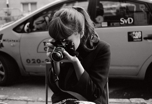 black and white, camera, girl, photography, vintage