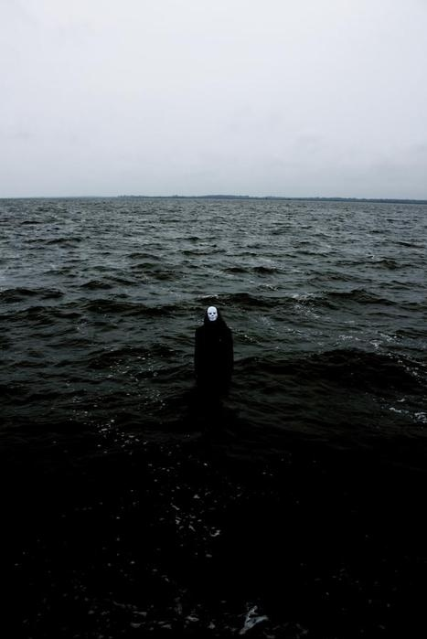 creepy, gothic, mask, ocean, strange, water