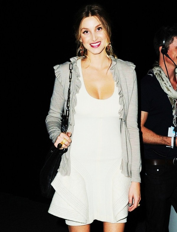 bag, beautiful, brunette, cardigan, celeb, celebrity, dress, fashion, girl, rings, style, white, white dress, whitney, whitney port
