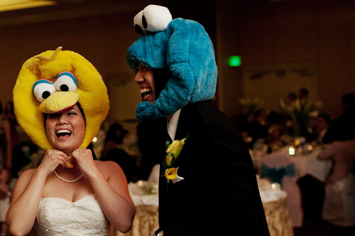 asian, big bird, bride, cookie monster, cute, groom, happy, love, reception, sesame street, wedding, weddings