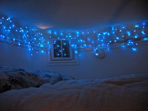 bed, bedroom, blue lights, christmas, icicle, icycle