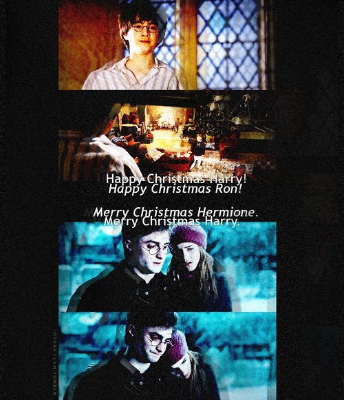christmas, harry, harry potter, hermione, hogwarts, magic, ron