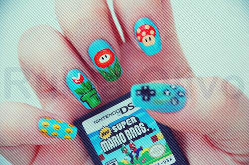 cool, cute, mario, nail art, nails, nintendo