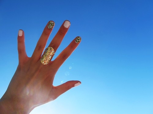 blue, cheetah, cheetah print, gold, hand, nail polish