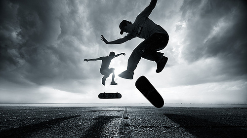boys, skate, skateboard, skaters, sky
