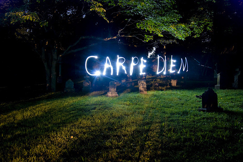 carpe diem, graveyard, haunted, light, photography, quote