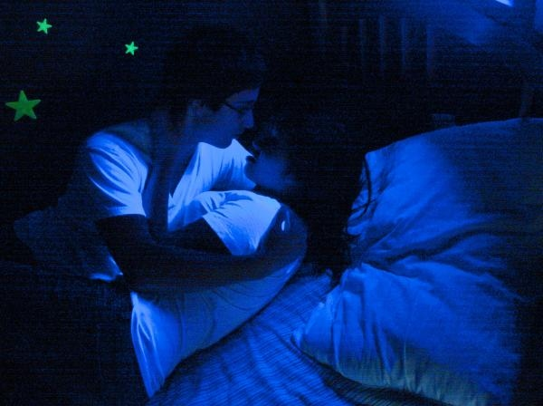 black, blue, couple, cute, glow, glow in the dark