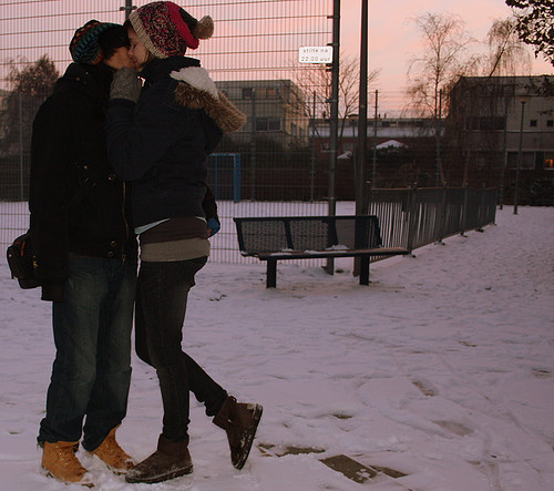boy, boyfriend, couple, cute, girl, girlfriend, kiss, kissing, love, nature, photography, snow, snowing