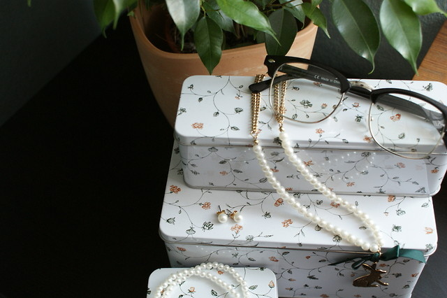 earrings, glasses, jewelery, necklace, pearls, plant