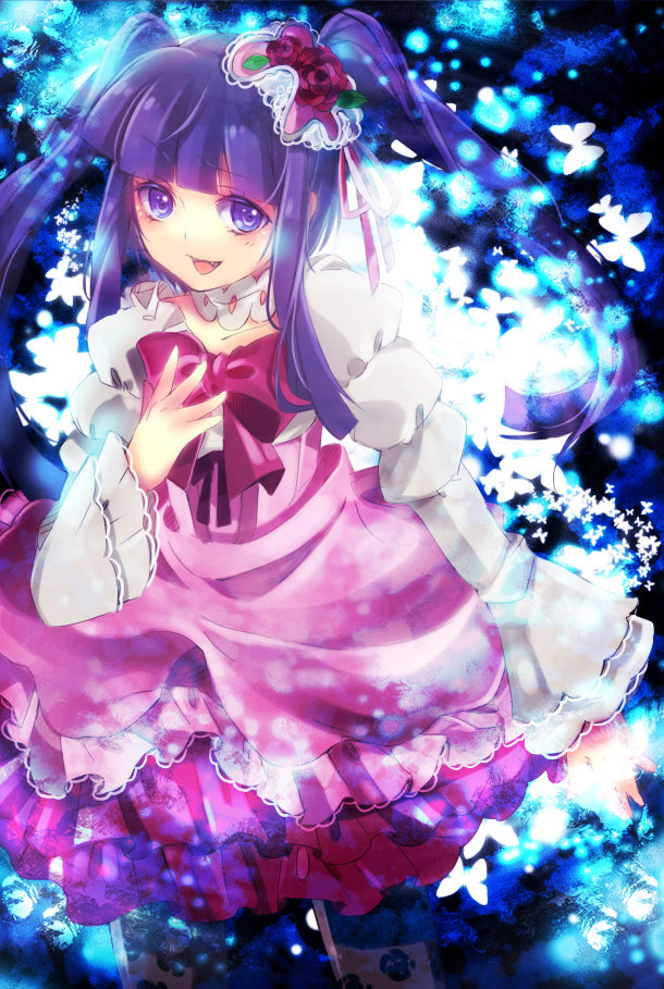 anime, bow, detective, dress, furudo erika, pigtails, pink, purple, umineko, victorian, witch
