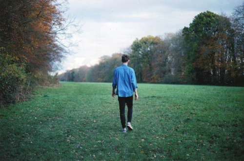 alone, boy, field, forest, green, man