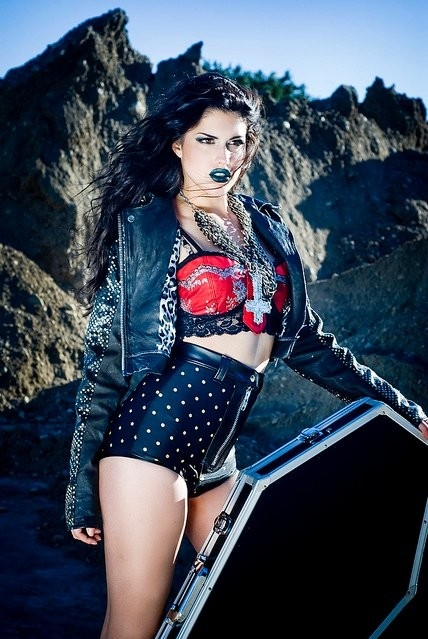 biker jacket, bra, chains, coffin, cross, fashion