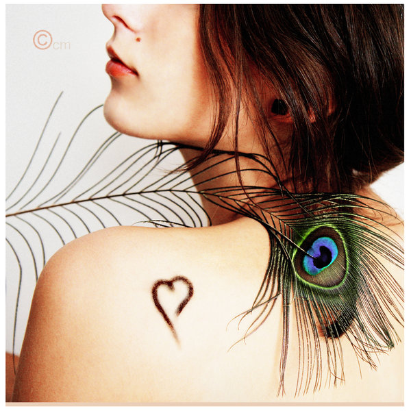 bird, brunette, fashion, feather, girl, peacock, pretty