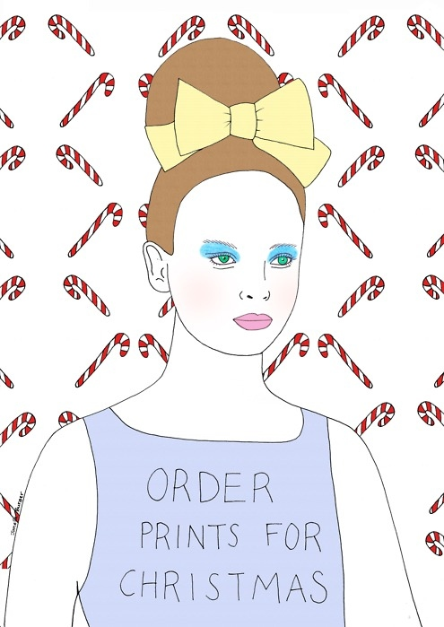 christmas, drawing, etsy, fashion illustration, girly, illustration