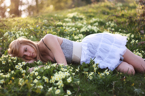 beauty, blonde, flowers, girl, grass, lay