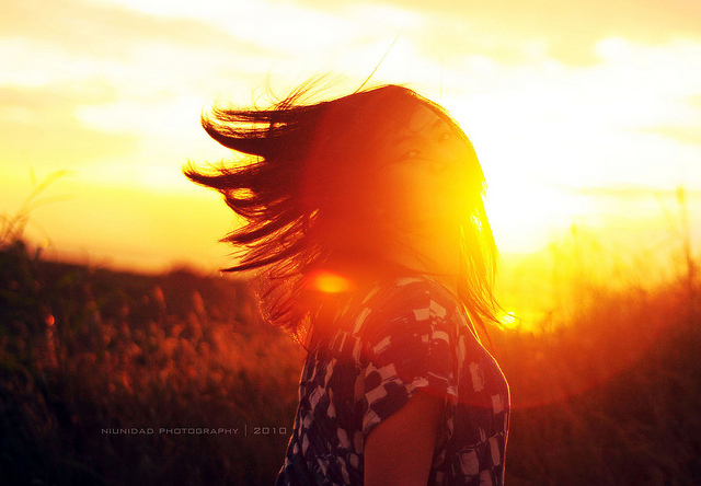 beautiful, field, girl, hair, light, nature