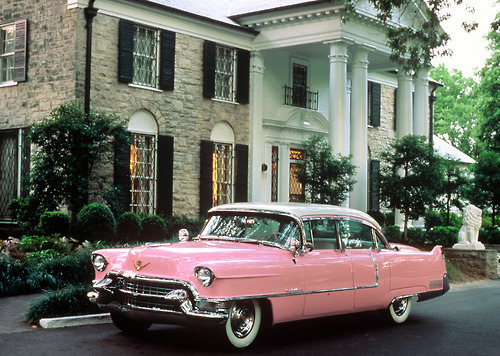 car, gorgeous, mansion, pink, vintage