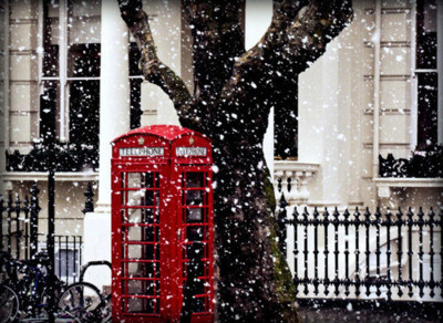 christmas, culture, london, phone booth, photography, red, snow