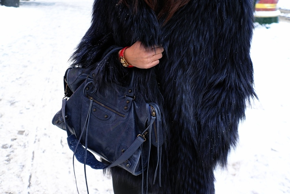 bag, balenciaga, black, coat, fashion, fur