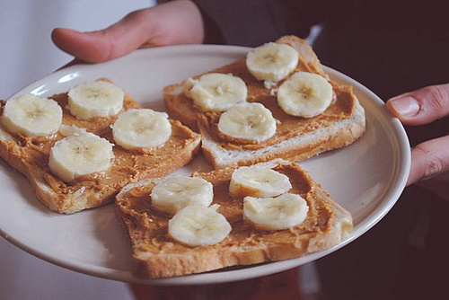 banana, food, peanut butter, plate, toast