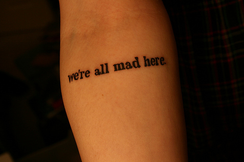alice in wonderland, arm, cute, tattoo, text, typography