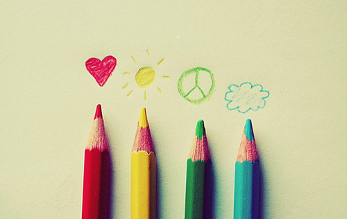 blue, cloud, colored, colored pencils, colors, elements, green, heart, love, peace, peace sign, pencils, red, sun, yellow