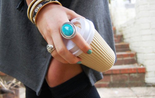 blue, coffee, fashion, girl, jewelry, nail polish