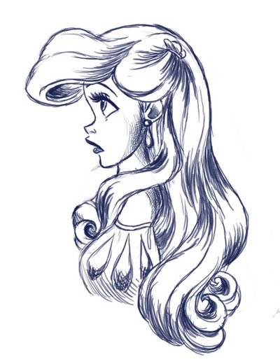 ariel, black and white, disney, disney princess, fan art, girl