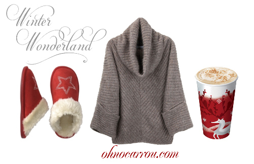 christmas, cold, hot chocolate, slippers, sweater, winter, winter wonderland