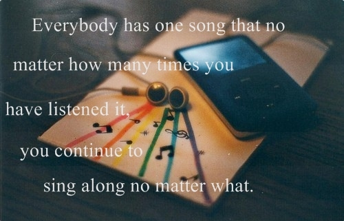 earphones, ipod, life, love, music, quote, song, typography