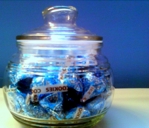 blue, candy, chocolate, cookies, cookies and cream, jar, kisses