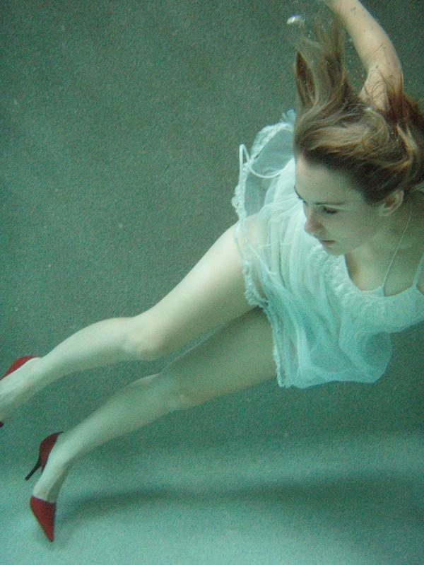 blue, dress, girl, green, red shoes, underwater, water