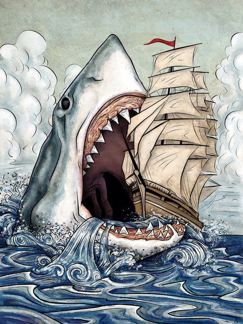 art, awesome, illustration, ocean, shark, ship