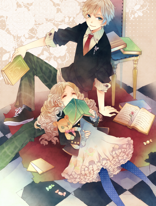 books, boy, couple, cute, dress, girl