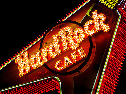 cafe, guitar, hard rock, hard rock cafe, light, night